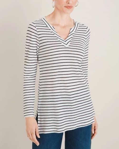 Chico's v-neck linen tunic in black-white stripe