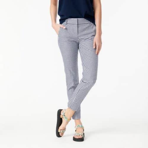 J.Crew slim cotton pants in navy-white gingham.
