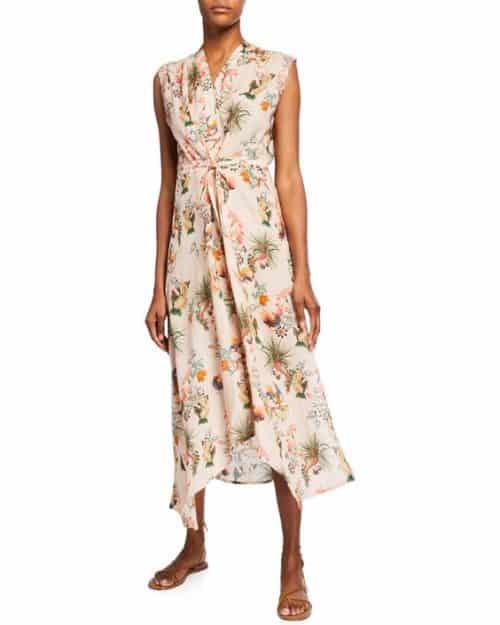 Johnny Was floral print midi dress with asymmetrical hem.