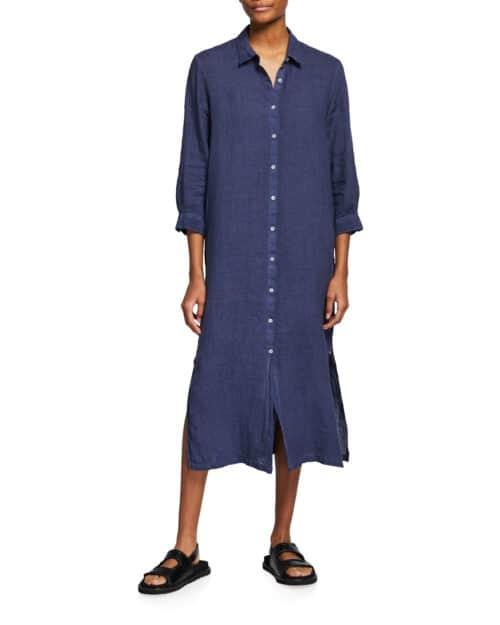 120% Lino long linen shirtdress navy.