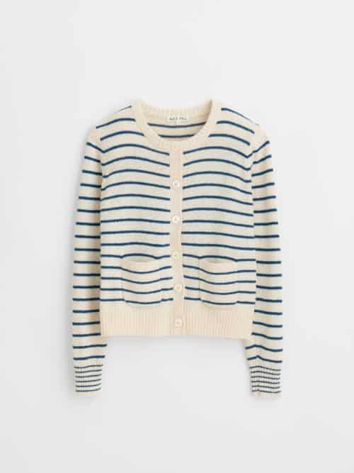 Alex Mill striped cotton-blend cardigan. White/blue.