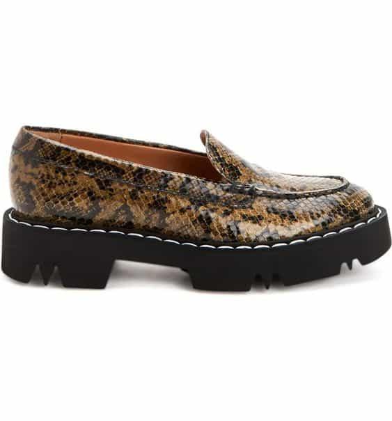 Aquatalia lug sole water-resistant loafers snake print.