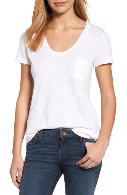 Caslon rounded v-neck tee white.