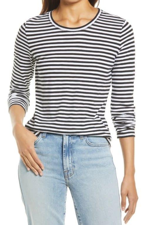 Caslon long-sleeve striped tee