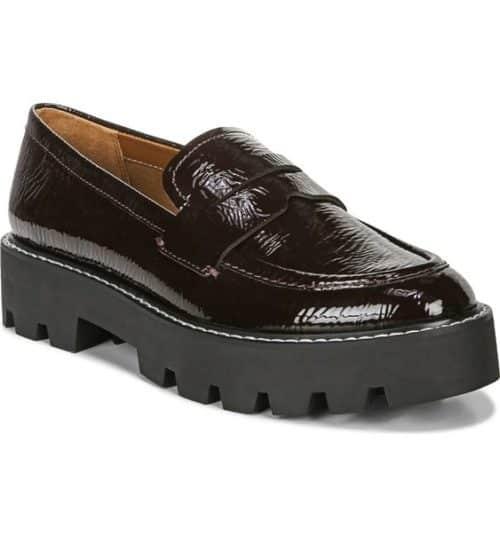 Franco Sarto lug sole platform loafers in burgundy.