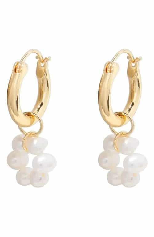 Gorjana fleur freshwater pearl double hoop earrings