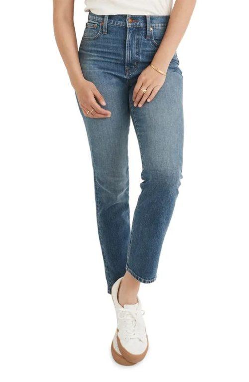 Madewell perfect vintage straight leg jeans.