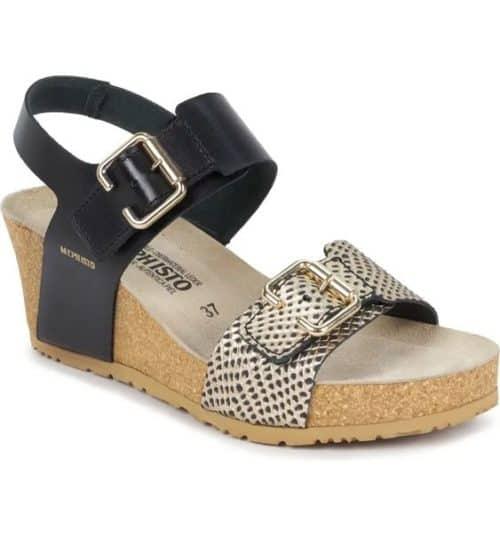 Mephisto Lissandra wedge sandals, black & reptile