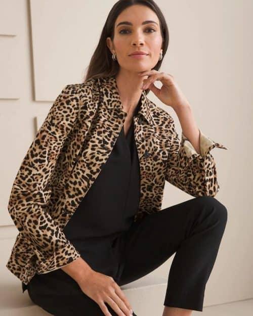 Chico's leopard-print denim jacket.