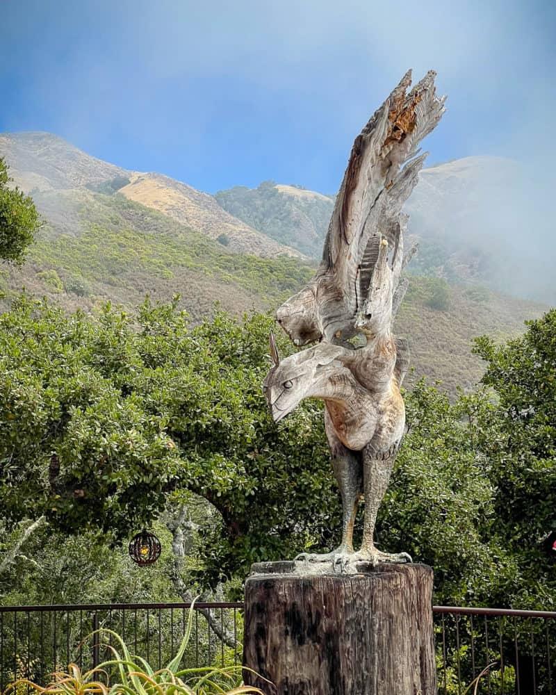 Driftwood bird sculpture at Nepenthe in Big Sur, California.