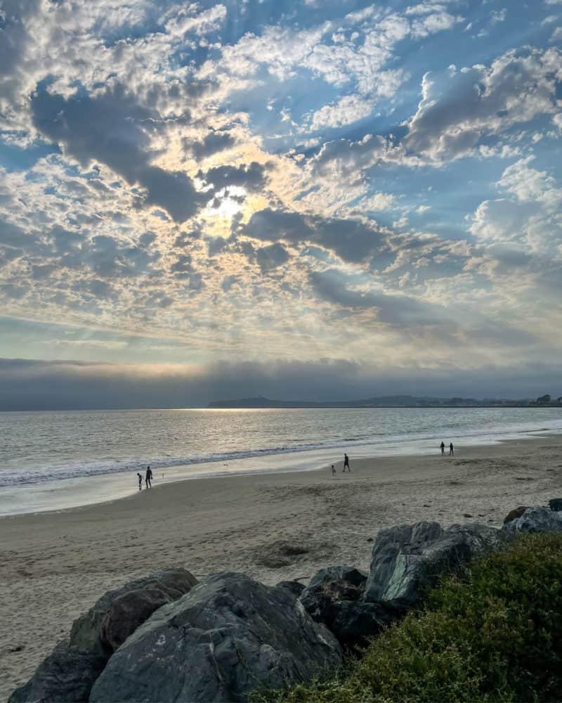 Sun through the clouds at Miramar Beach, Half Moon Bay