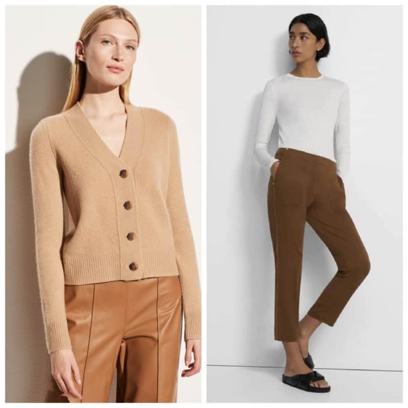 Fall wardrobe basics: Vince v-neck cashmere cardigan, Theory Treeca cotton pants