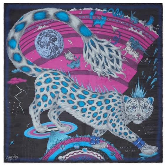 Emma J. Shipley snow leopard silk scarf in Winter palette.