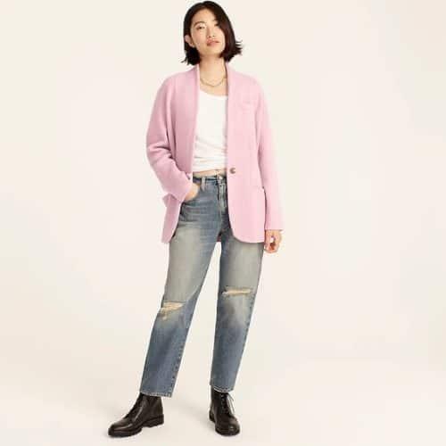 J.Crew cocoon sweater blazer in dried violet.