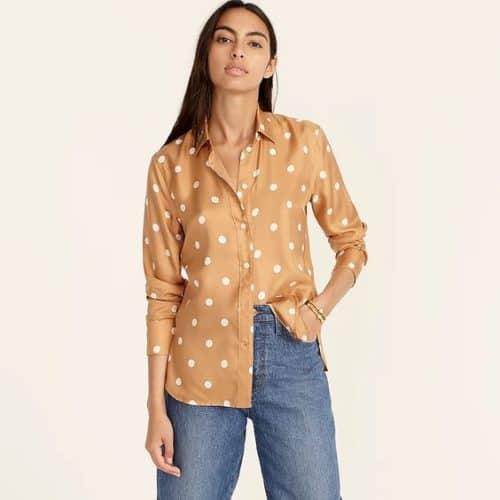 J.Crew dot print silk twill shirt in caramel.