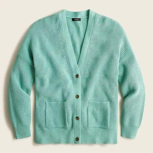J.Crew cotton cashmere ribbed v-neck cardigan aqua.