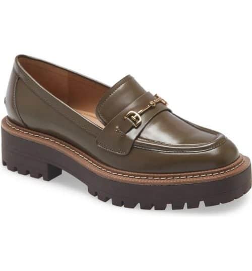 Sam Edelman Laurs lug-sole loafer in khaki.
