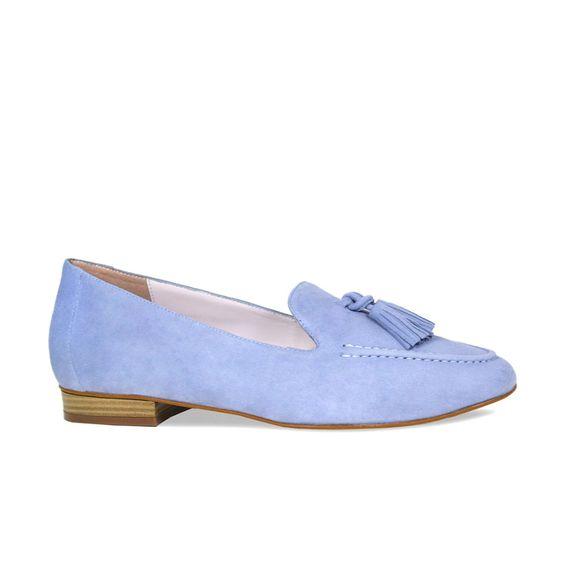 Sole Bliss tassel loafer in sky blue suede.