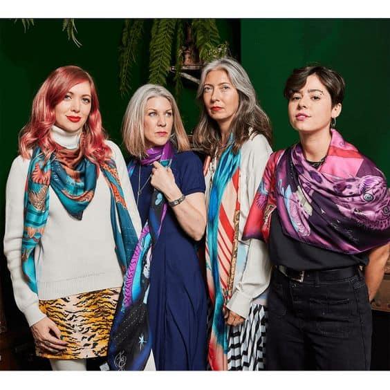 4 seasonal palettes wear the Emma J. Shipley Snow Leopard silk scarf: Autumn, Winter, Spring, Summer.