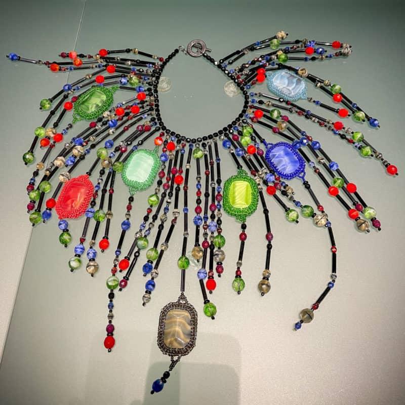 A colorful bead necklace from Emporio Armani exhibit at Armani/Silos, Milan