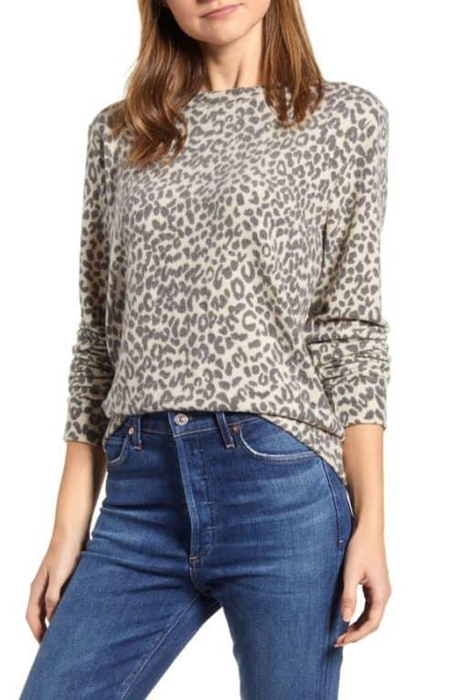 Loveappella leopard print wool-free sweater.
