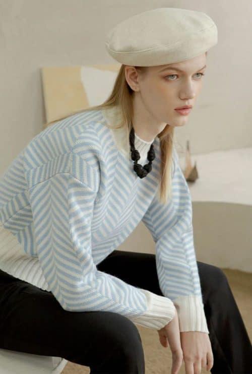 Petite studio blue white chevron print sweater.