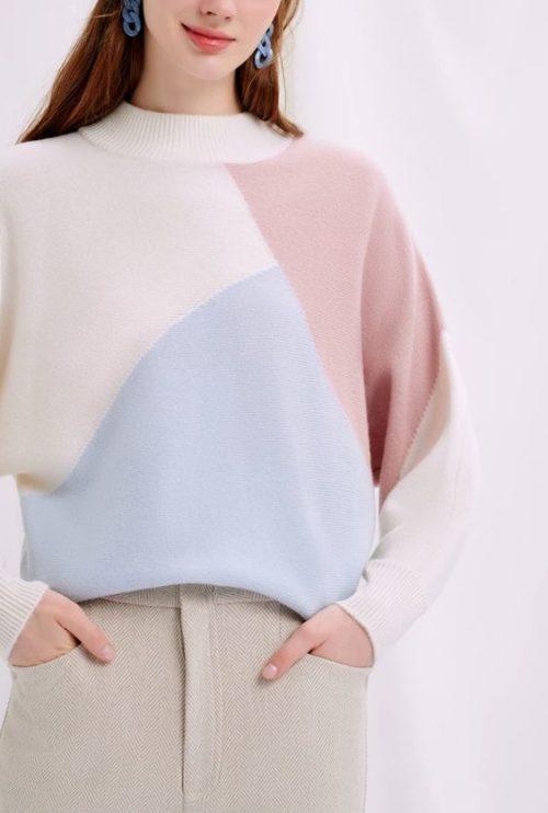 Petite studio color block sweater in cool colors.