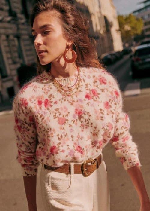Sezane rose print sweater.