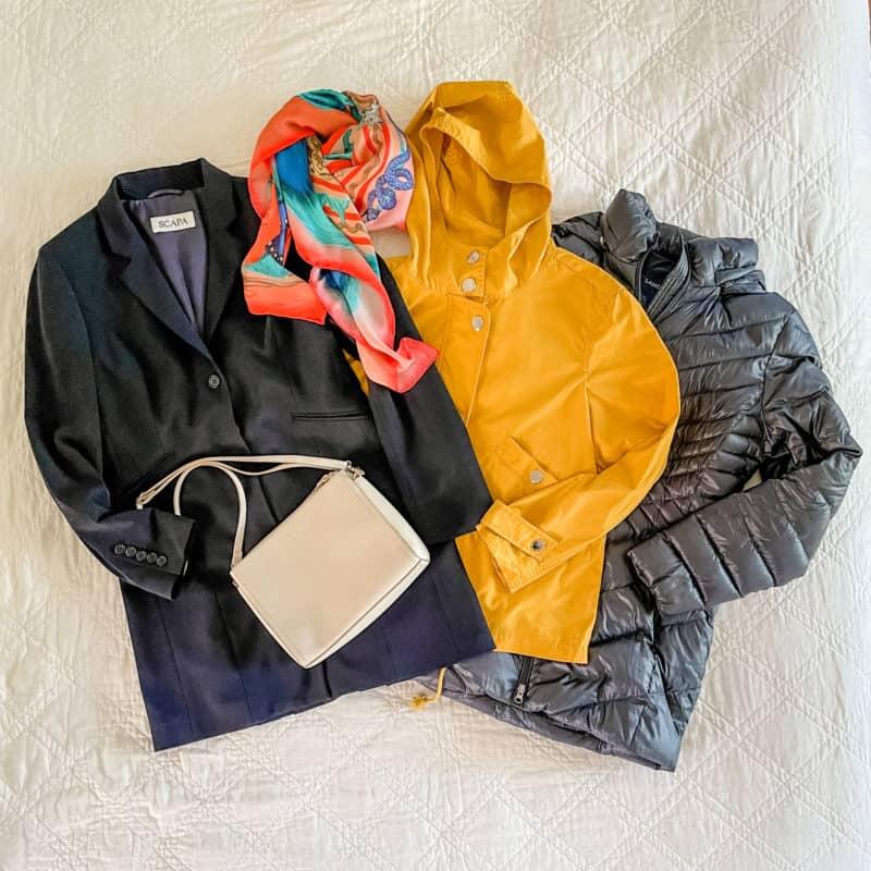 Susan B's travel wardrobe outerwear for Europe.